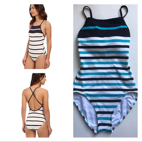 96b2f9b2db206 Michael Kors Nauset Stripe High-Neck Bathing Suit.  M_5b1571263e0caa5a45596b64